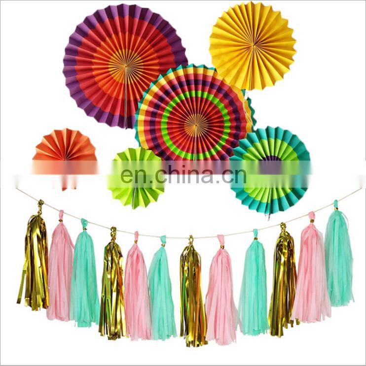 Colorful tissues paper garland and colorful paper flower fans for wedding party decoration