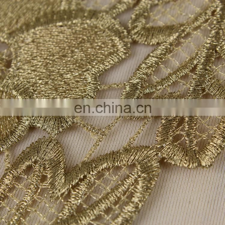 Beautiful Fancy embroidery designs gold flower lace