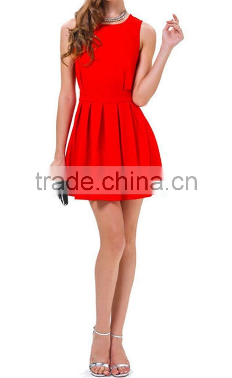 2016 Fashion Women Sexy Back-Open Short Dresses, Solid Ladies Summer Party Vestidoes Red Above Knee design Mini Dress