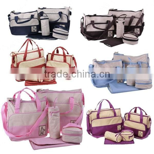 Pink 5pcs Multi-Function Baby Diaper Nappy Bag/Mummy Changing Set Handbag