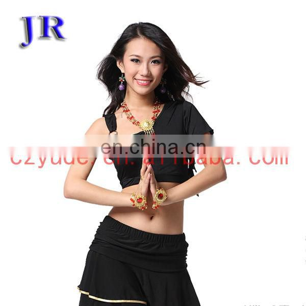 Girls cheap sexy ice silk exercise belly dance crop top wear costume S-3030#
