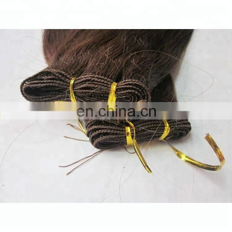 factory Remy hair hand Tied brazilian hair weft straight hair extension