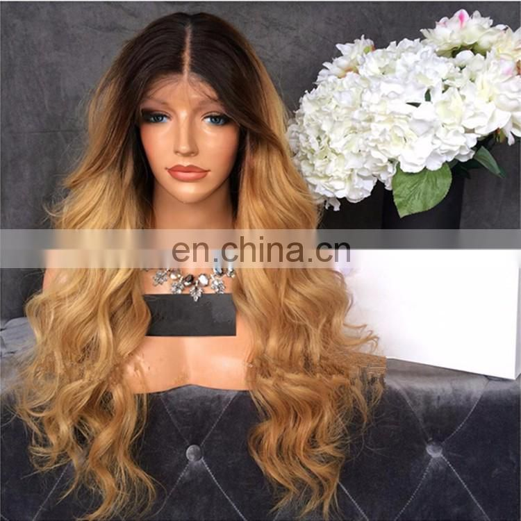 1BT27# Ombre Color Full Lace Wig Virgin Malaysian Human Hair Long Blonde Human Hair Wig 24 Inch In Stock