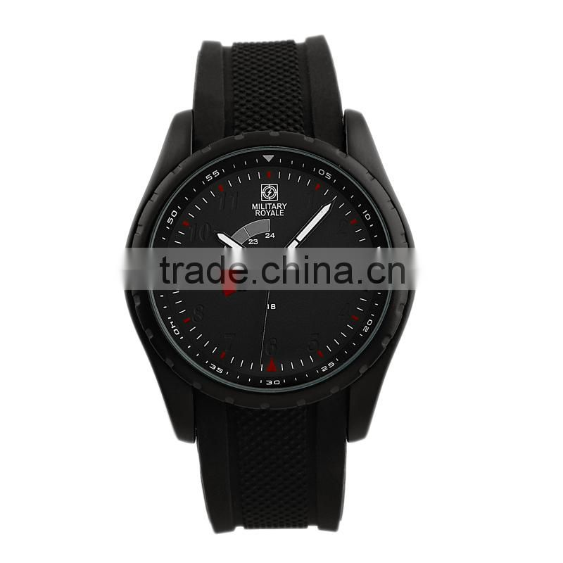 Men's Black Rubber Strap Military Army Watch Japan Movement MR077