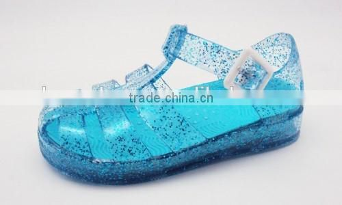 Clear PVC Jelly Sandals with Glitter for Children