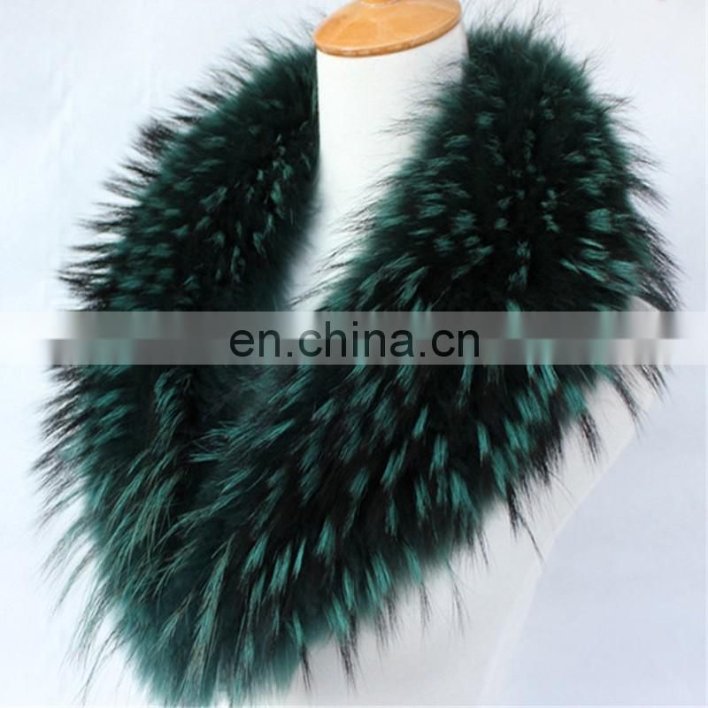 Large genuine raccoon fur collar dyeing fluffy fur shawl collar wholesale