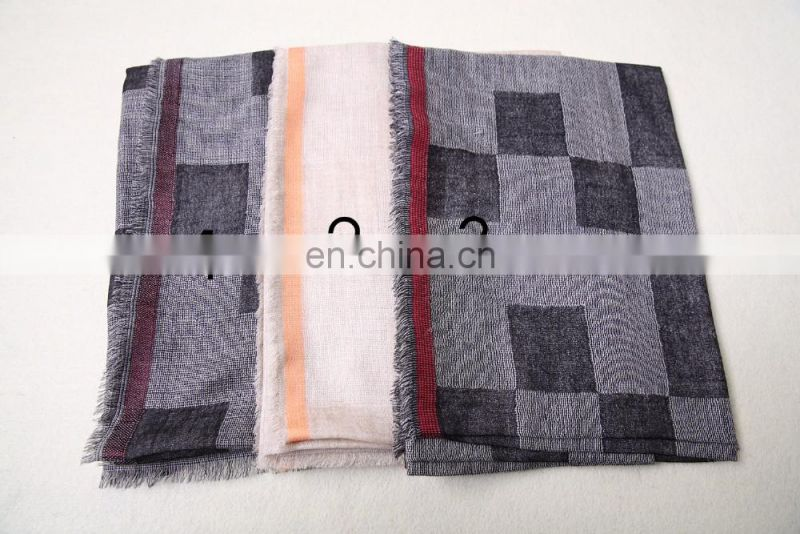 Wholesale price Nepal men handsome plaid touch soft cashmere scarf