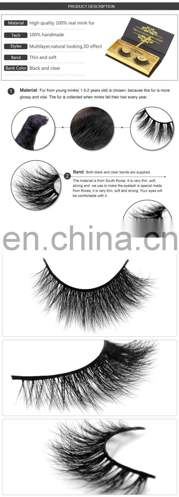 Wholesale mink 3d false eyelash