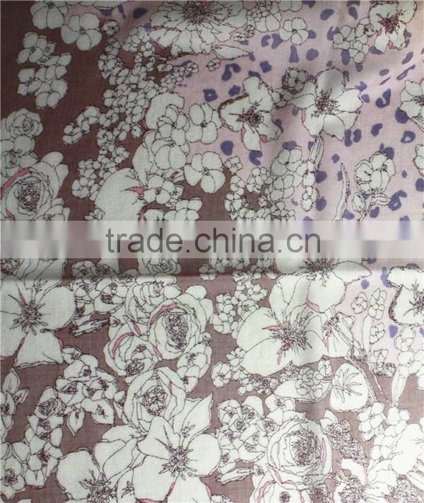 Leopard printed pattern China factory long100%Cashmere shawl