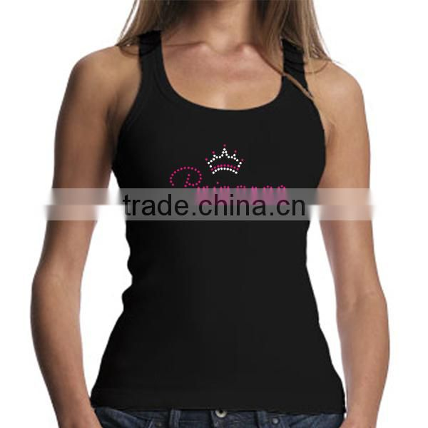 Customized Bling Crystal Trump 2016 Design Iron On Tank Top For Women Rhinestone Transfer