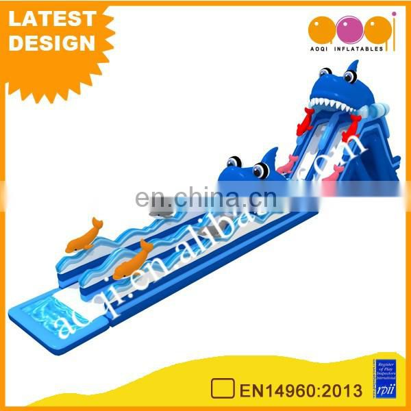China suppliers inflatable water game inflatable dolphin long water slide summer beach slide for sale