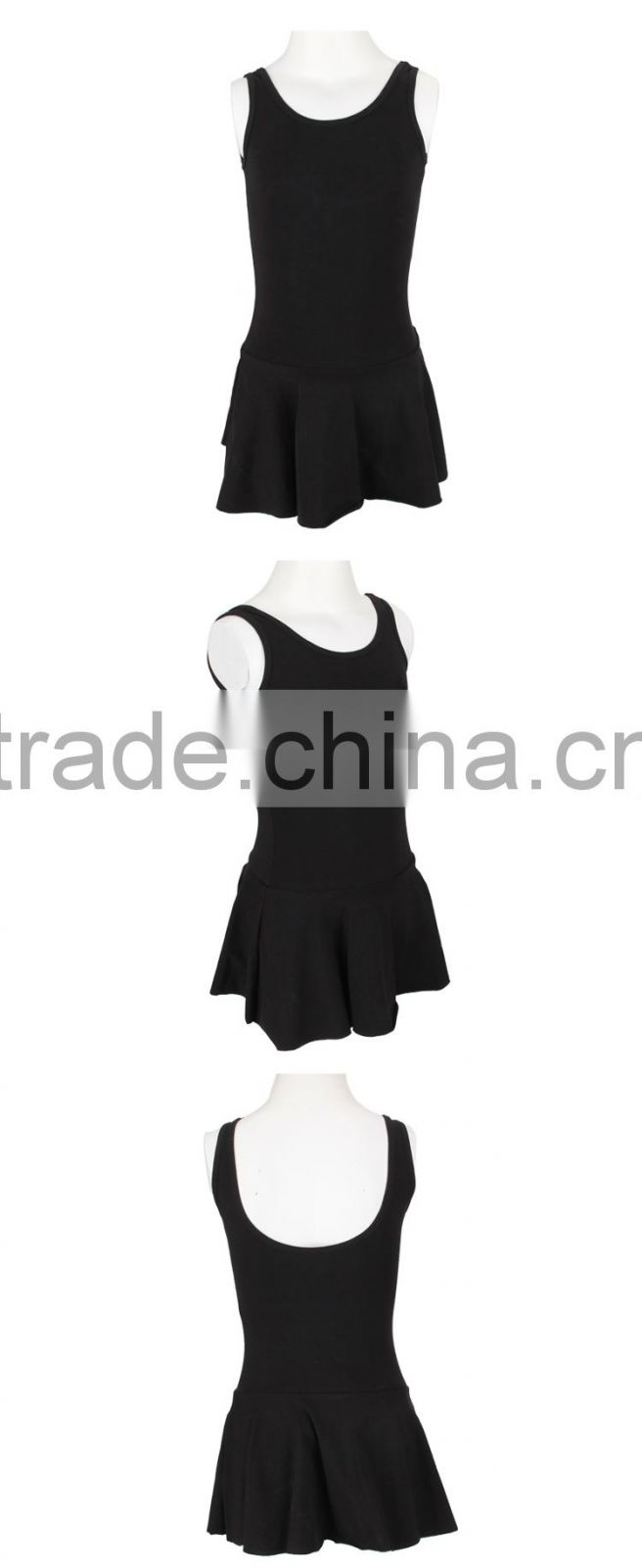 High Quality Wholesale Black Backless Vest Kid Child Dress for Little Girls