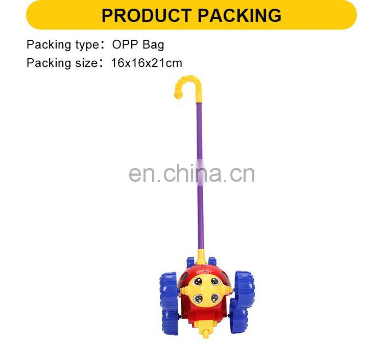 wholesale 21cm beetle trolley wheel kids push toy plastic hand trolley
