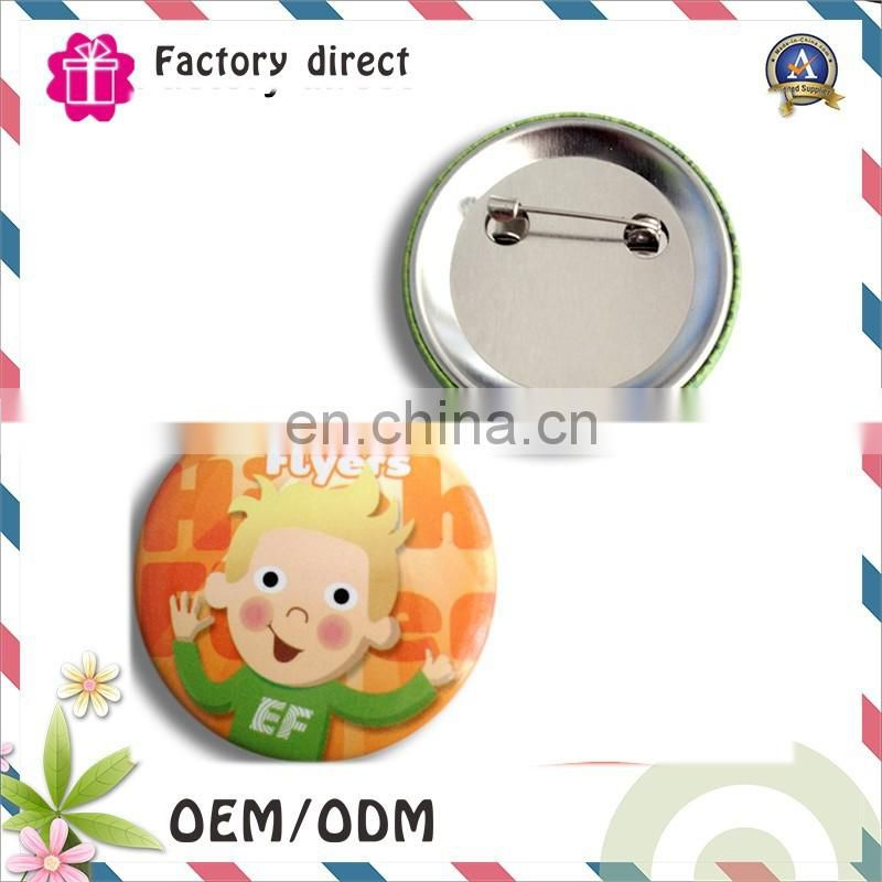 Foshan factory tinplate badge button safety pin matel badge for children