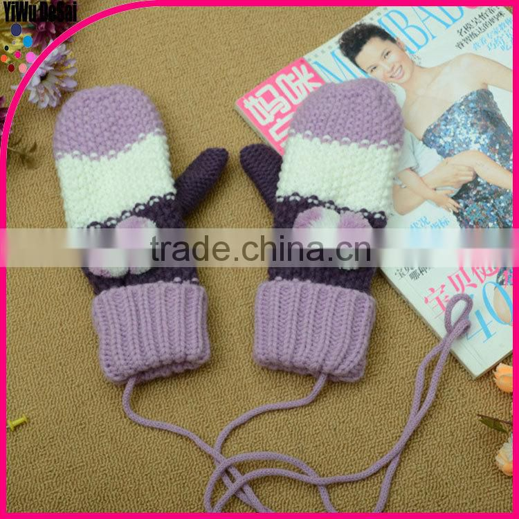 popular cycling gloves white gloves women fur mouth gloves heart Hang-neck girl gloves knitting