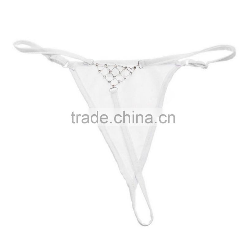 Super Women Sexy Lingerie G-String Rhinestone T-Back Underwear Ladies V-String Briefs Thong White Exotic Apparel