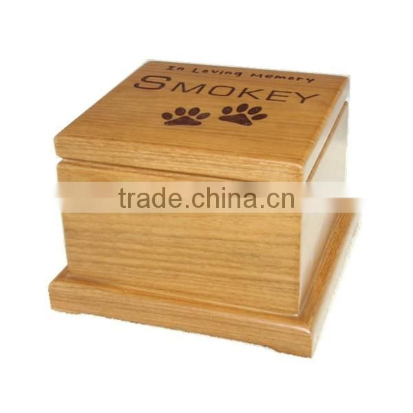 cheap wooden creamation urn with paw print for pet ashes