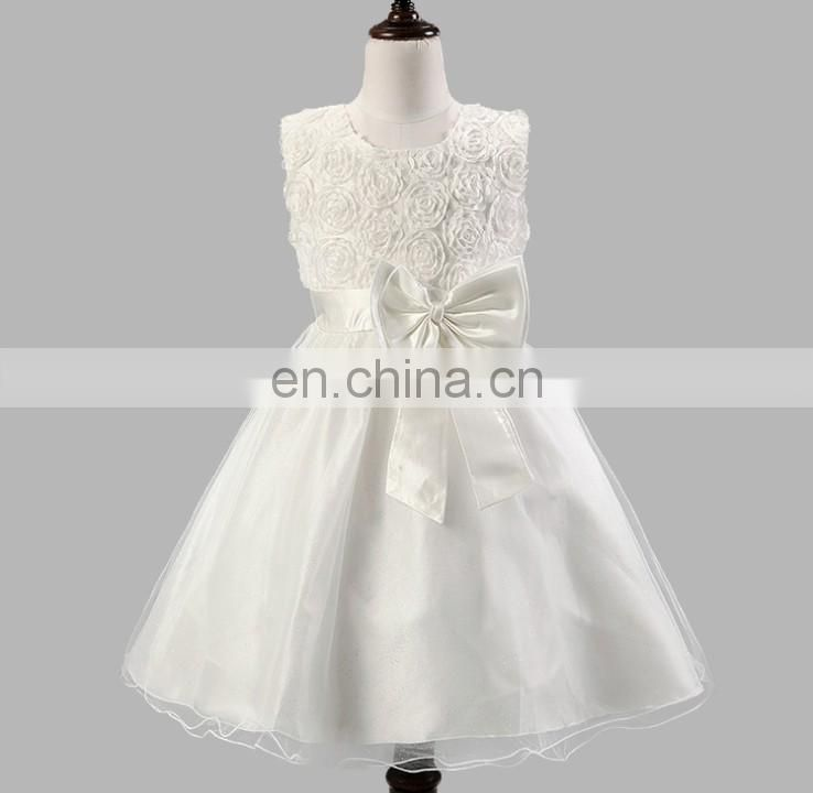 White Flower Girl Dress Tulle Tutu Sleeveless Wedding Dress Christening Maxi Gown