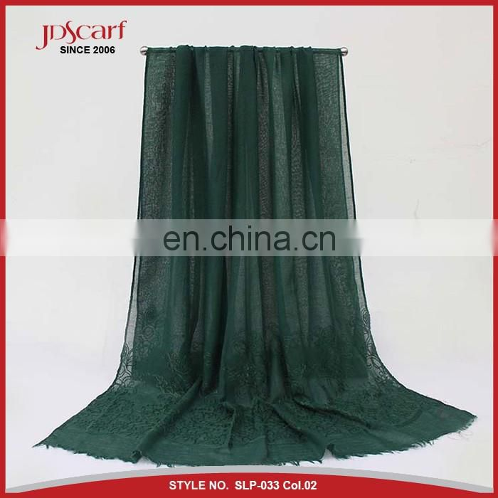 China factory african muslim women viscose embroidery scarf pashmina