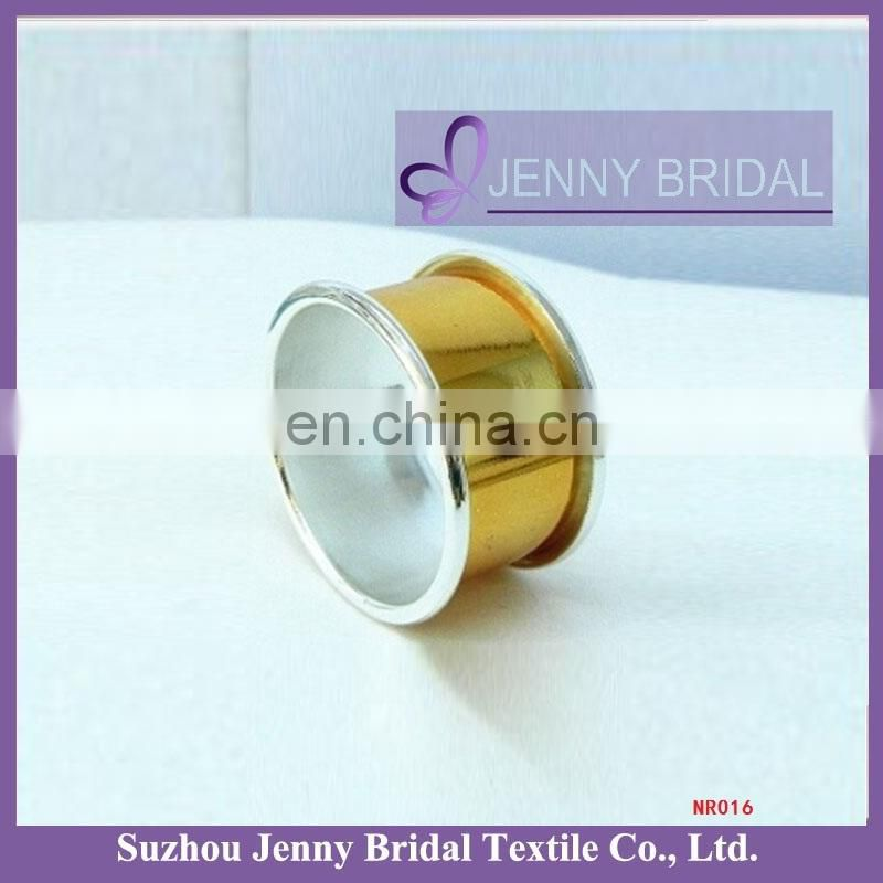 NR015 silver and gold plated plain napkin holder for restaurant