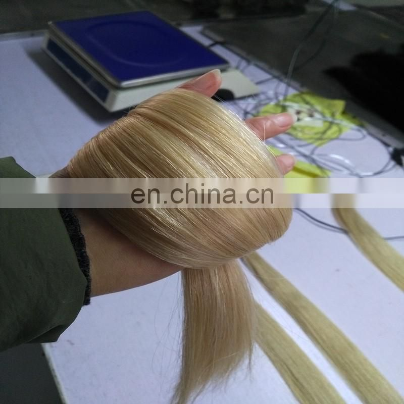 High quality 10a grade nano ring hair extensions color 613# silk straight pre-bonded hair extensions