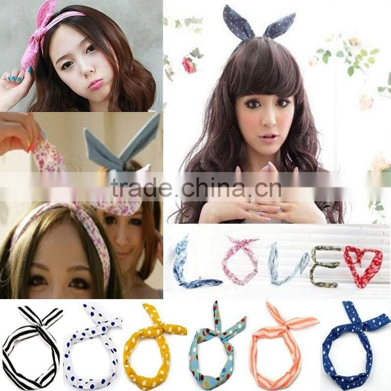 HOT 1 PC Lovely Kids Girls Lady Bow Headwear Hair Bands Hoop Rabbit Ear Wrapped Headband Party Wire Scarf Hair Accessories