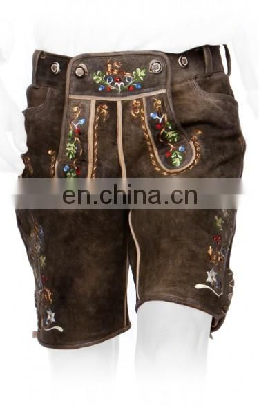 German-Bavarian-Oktoberfest-Trachten-Short-Length-Lederhosen-Men's Leather Shorts antique Dark Brown