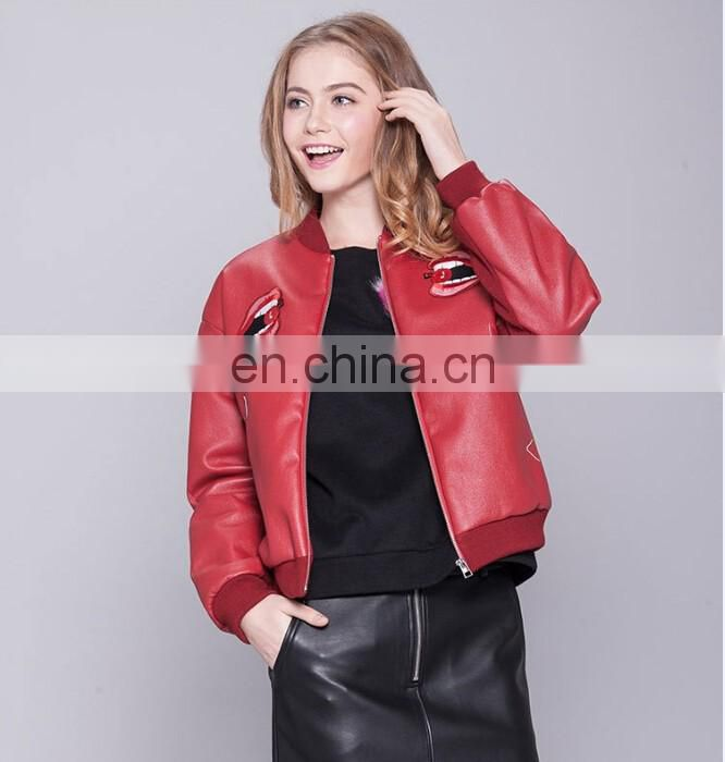 Cheap New design Women's Faux Leather Bomer Jacket Baseball Jacket flight Jacket PU jacket with Mouth Embroidery