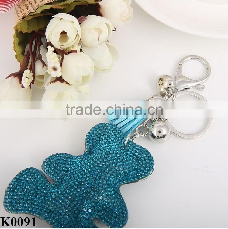Delicate Colored Cute Fashion Rhinestone Car Keychain Jewelry Bag Accessories Charm Leather Bear Keychain Key Ring Holder K0091