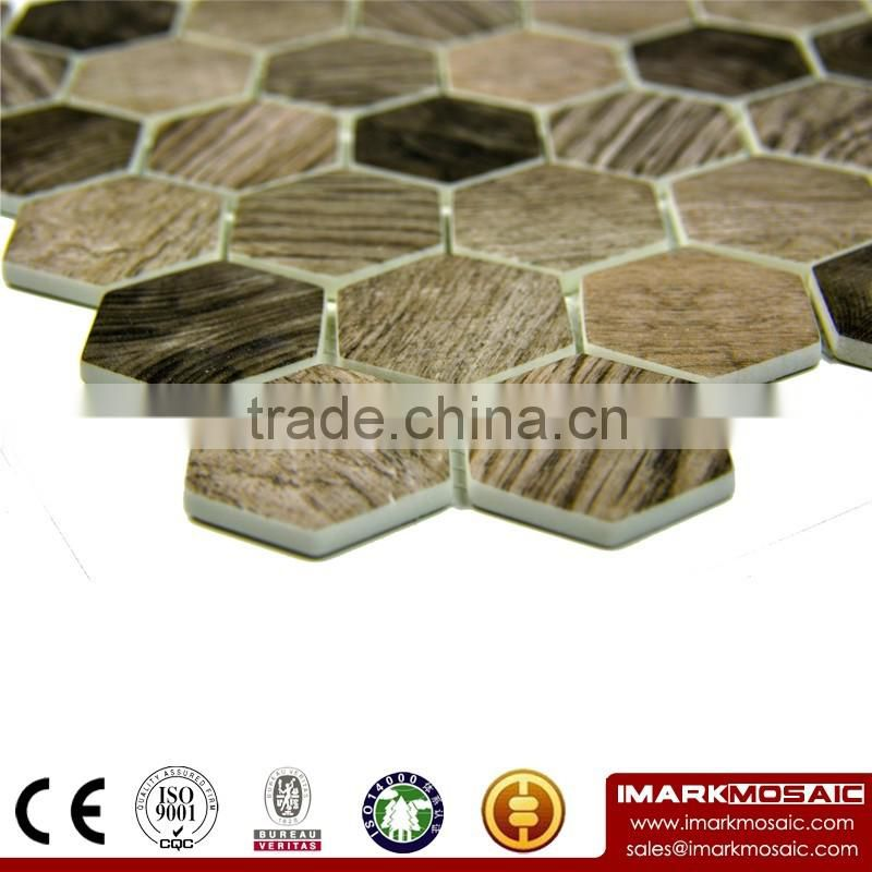 "IMARK 3D Inkjet Printing Urban Wood 2"" Hexagonal Glass Mosaic Tile/Luxury Tile"