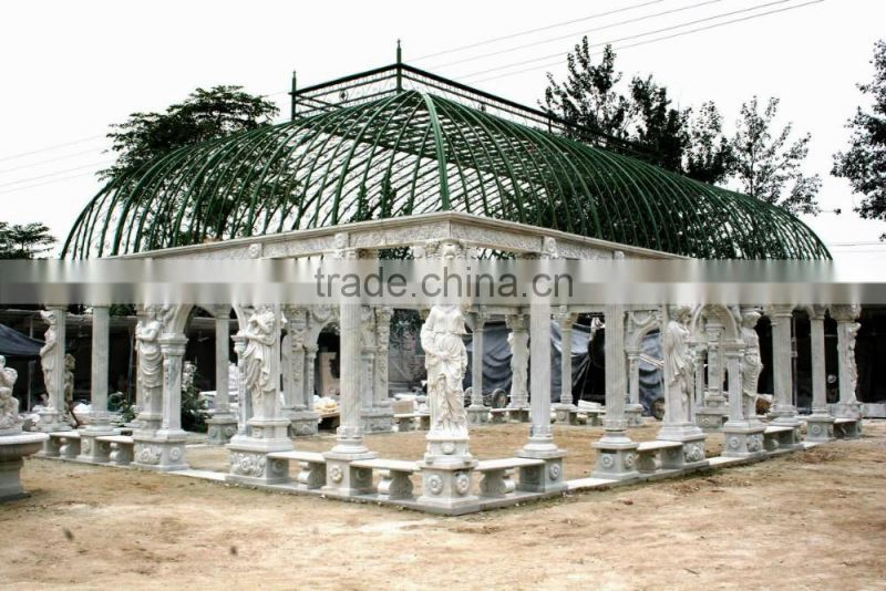 outdoor italian big white marble gazebo with roof NTMG-280S