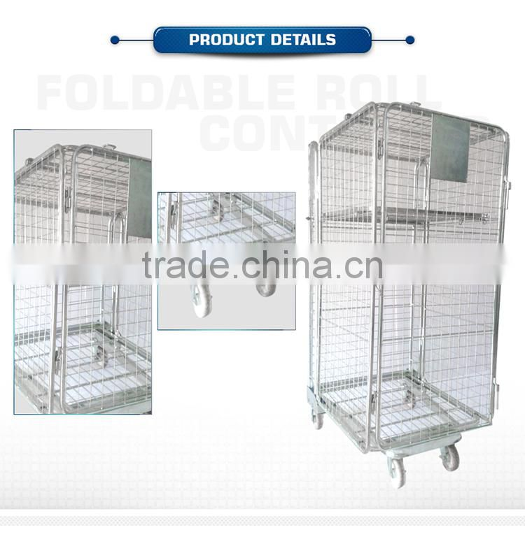 Wire mesh security logistics trolley roll cages for logistic ...
