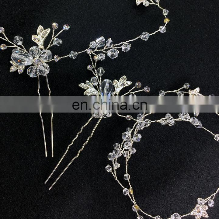 Ameliebridal Silver Plated Flowers Encrusted with Clear Rhinestones Couture Crystal Hair Vine Floral Ornamented Hairpin Wedding