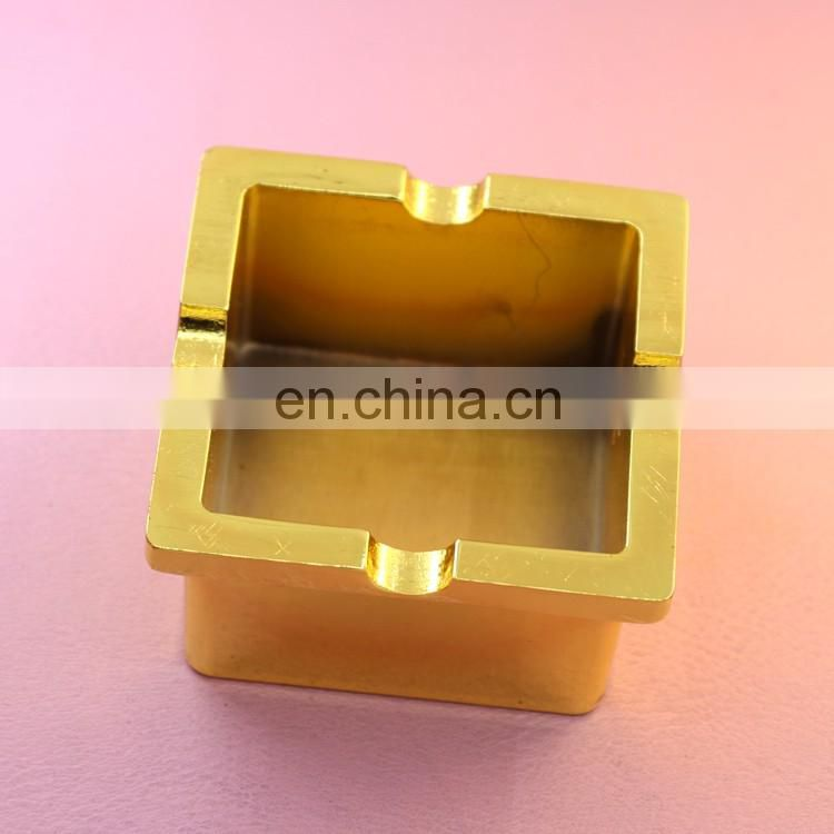 Simple square deep groove plating gold/ rose gold/grind arenaceous black ashtray low price high quality wholesale