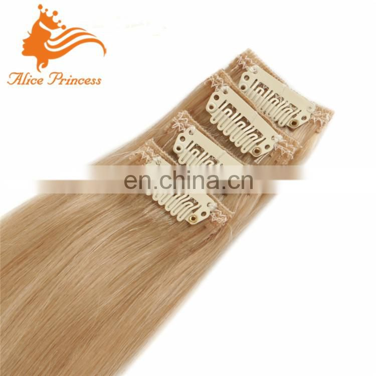 #24 Dark Blonde 100g 9pcs Clip In Hair Extensions Free Sample curly blonde clip in human hair extensions clips