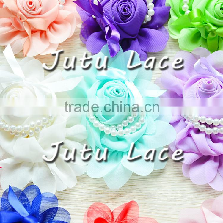 rose link leaf flower for christmas ornament, sequin applique hair flower/ shabby flower trim