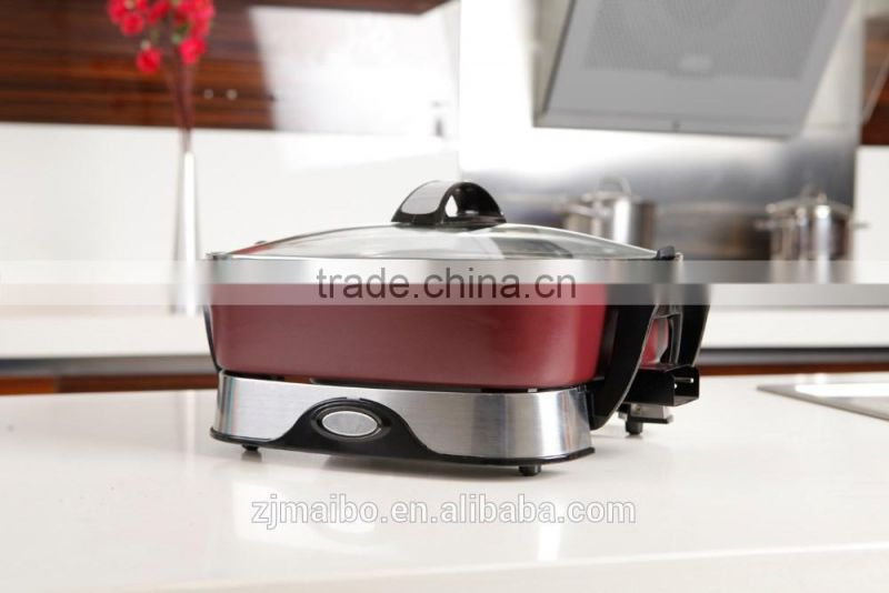 multi cooker with Adjustable Thermostat 12*12 inches square Non-stick coating electric skillet Fry Pan