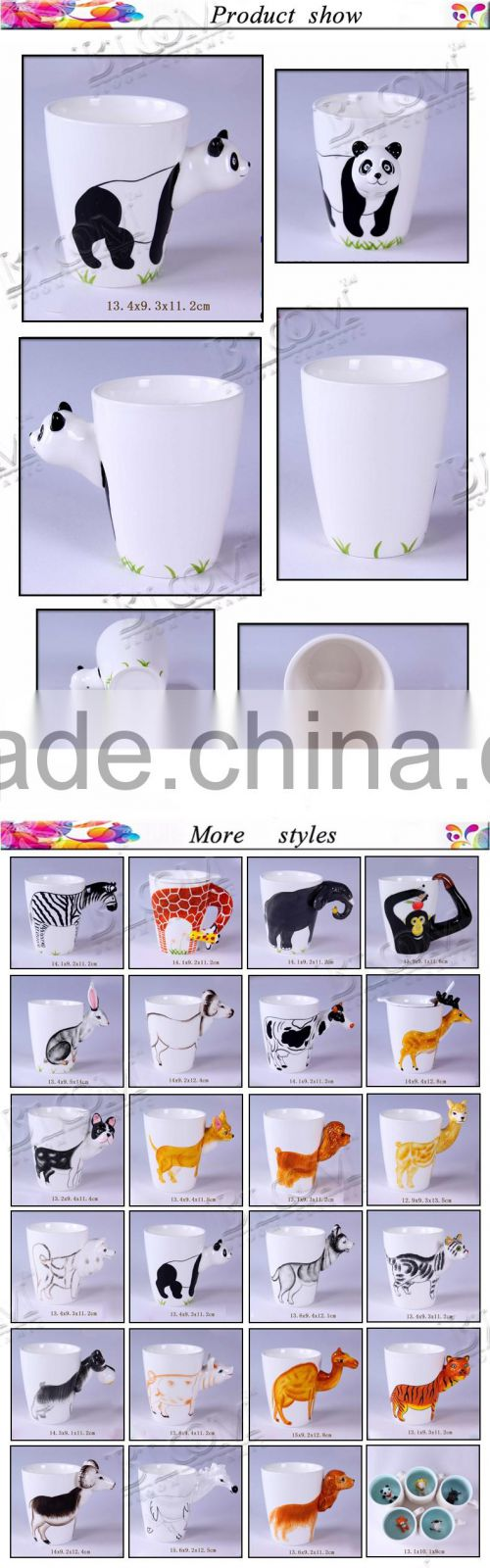 panda desgin custom white ceramic mug factory