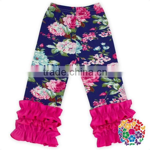Newest design wholesale baby clothes baby girls triple ruffle pants sew sassy icing legging