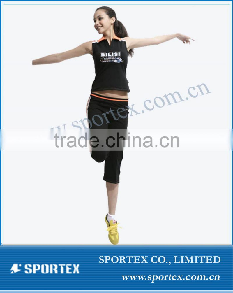 ladies' fitness wear black color sports suit Dry fit wicking fabric fitness wear