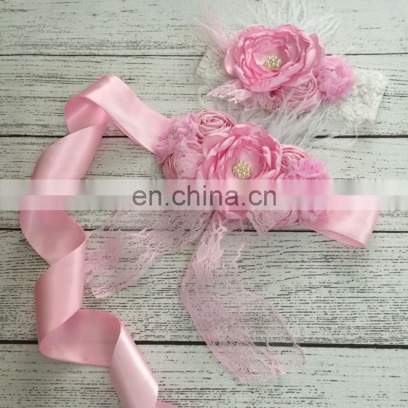 Pink Ribbon Lace Sash Matching Headbands Sets Luxe Flower Pearl Sash Belt Shabby Chic Headband