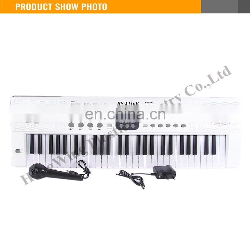 Fashion White Color LED Display Screen With Microphone And Charger 54 Keys Electronic Organ Keyboard