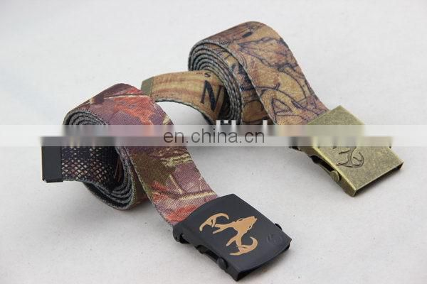 Canvas Belt With Silk Printing Mens Clip Buckle Belt