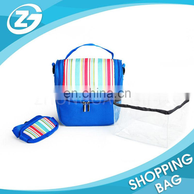 Direct Factory Promotional Cute Polyester Colorful Children Outside Pocket Lunch Delivery Handle Carry Insulated Cooler Bag