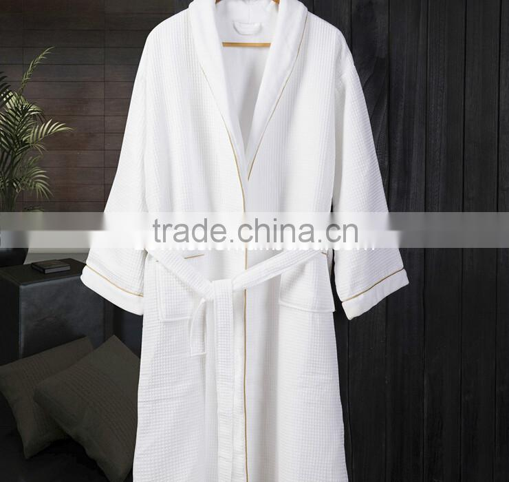 100% Egypt Cotton Soft double layers waffle and velour fabric hotel bath robe bath dress
