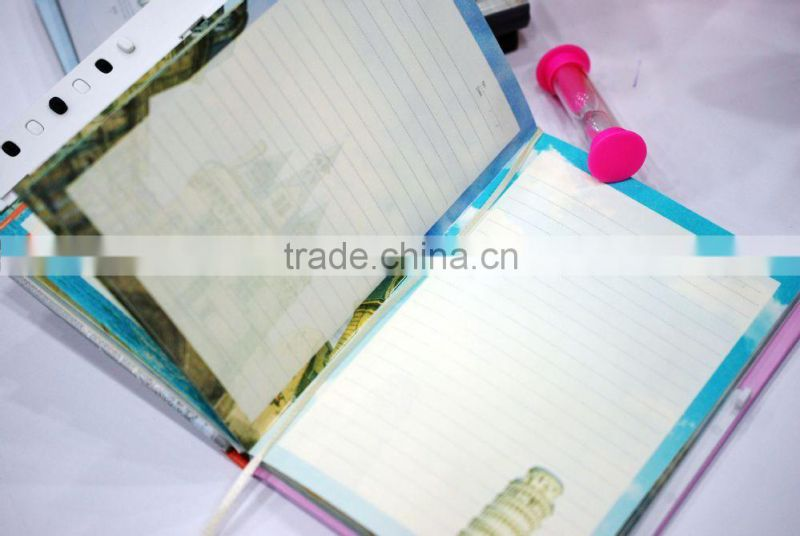 YIwu New designed decorating printed cardboard cover notebook with key,note book in school&office manufacture and supplies