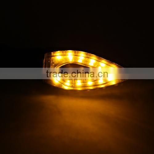 4pcs 12 SMD LED Mini Motorcycle Motorbike Turn Signal Indicators Amber Light + DOP-3X Flasher Relay