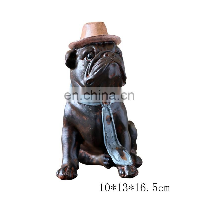 Antiquing resin pitbull dog animal figure for collectible