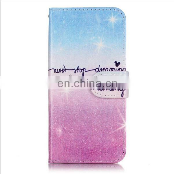 2016 fashion women star Glitter Powder pu wallet leather Case for iPhone 7 Plus