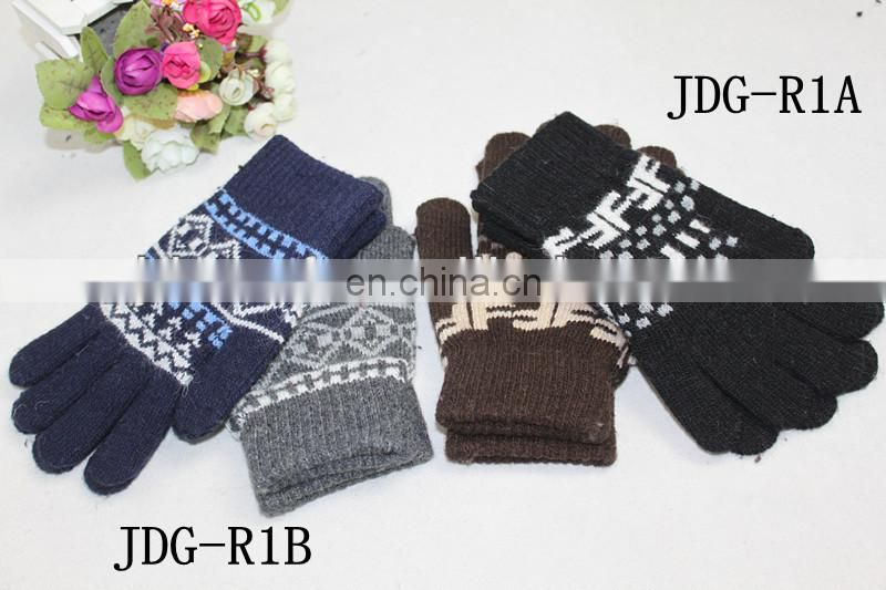 navy blue knitted gloves warm winter string knit adult gloves
